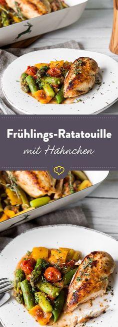 Grüner Spargel, knackige Zuckerschote und zartes Hähnchebrustfilet verpassen dieser Ratatouille in einen leichten Frühjahrslook.
