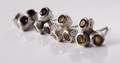 Charleston stud earrings  Silver & citrine or granat