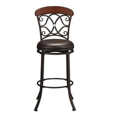"""30"""" Swivel Barstool    This swivel barstool features a dark coffee finished steel frame and a dark brown vinyl seat. Topped off with a metal scroll and wood back panel."""