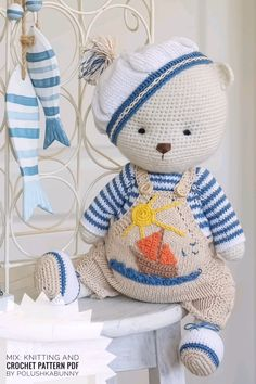 "Knitting and Crochet Pattern for the Outfit ""Sailor Boys"" by Polushkabunny - Knitting and Crochet Pattern for the Outfit ""Sailor Boys"" by Polushkabunny # - Crochet Bunny Pattern, Crochet Animal Patterns, Crochet Bear, Crochet Animals, Crochet Patterns Amigurumi, Knitting Patterns, Teddy Bear Knitting Pattern, Easy Knitting, Easy Crochet"