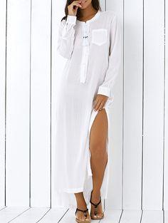 High Low Hem Long Sleeve Side Slit Shirt Dress WHITE: Long Sleeve Dresses | ZAFUL