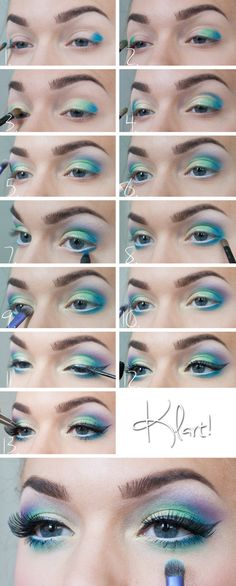 Yellow green blue gold purple eyeshadow
