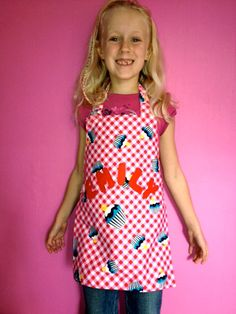 Personalised girl's cupcake apron/pinnie. by Kirstyflo on Etsy, €24.00