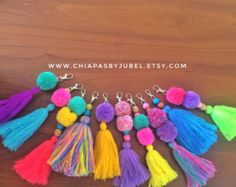 Multicolored pom pom and tassel bag charm / colorful pom pom
