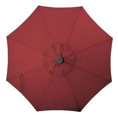 Simply Shade Red Market Pre-lit 9-ft Push-button Tilt Octagon Patio Umbrella with Black Powder Coat Aluminum Frame at Lowes.com