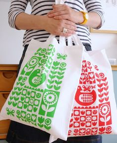 Screen printed tote bags with Scandinavian designs by Jane Foster.