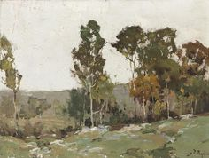 """""""Eucalyptus Trees,"""" Chauncey F. Ryder, oil on canvas, 12 x 16"""", private collection."""