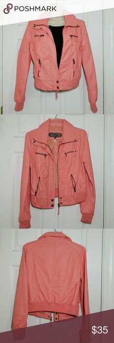 Pink faux leather jacket Pink faux leather jacket. Size medium Slight discoloration on sleeves. Jackets & Coats