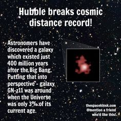 An phenomenal discovery! Bite-sized, mind blowing space facts about the Universe and the cosmos. Whether you're new to astronomy / astrophysics or not, check us out @ https://www.instagram.com/thespacekiosk/ Image: NASA, ESA, and P. Oesch (Yale University)