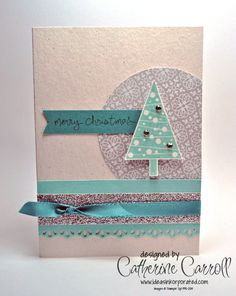 Festival of Trees with All is Calm DSP, by Catherine Carroll, UK Stampin' Up! Demonstrator