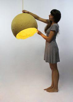 Paper pulp pendant lamp Jupiter paper mache by CreaReDesign, €300.00