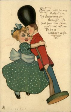 SCARCE TUCK Valentine #104 Wooden Wooers Girl Loves Toy Soldier Postcard