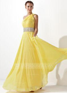 A-Line/Princess One-Shoulder Floor-Length Chiffon Prom Dress With Ruffle Beading (018020583) - JJsHouse
