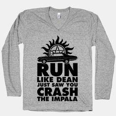 Run Like Dean Just Saw You Crash the Impala Supernatural Merchandise, Supernatural Outfits, Supernatural Fans, Supernatural Jewelry, Supernatural Fashion, Castiel, Fandom Fashion, Nerd Fashion, Disney Fashion