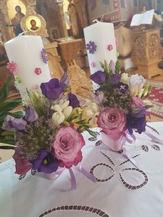 Altar Flowers, Flower Vases, Wedding Flowers, Orthodox Wedding, Candle Centerpieces, Christening, Flower Designs, Floral Arrangements, Dream Wedding