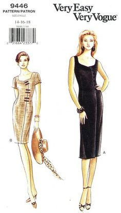Vogue Pattern 9446 Very Easy Sexy Sleek Mock Wrap Dress - Two Versions! Uncut Size 14-16-18 Bust 36-38-40