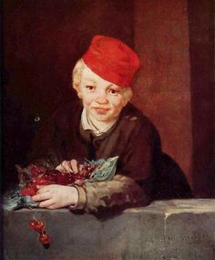 """The Boy with Cherries"" (1859), by French artist - Edouard Manet (1832-1883), Oil on canvas, Dimensions unknown, Fundacao Calouste Gulbenkian, Lisbon, Portugal. *Note:  Also known as ""Gamin aux Cerises"""