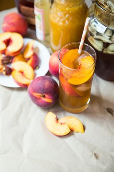 Sweet Tea with Ginger, Peaches, & Bourbon | Dinner was Delicious