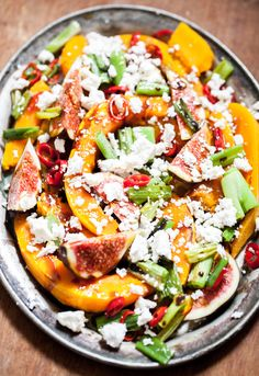 Roasted Hokkaido Squash and Fig Salad with Sauteed Chili, Spring Onions and Balsamic Reduction