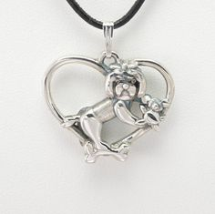 """Sterling Silver Maltese Pendant w/18"""" Sterling Chain by Donna Pizarro fr Animal Whimsey Collection of Fine Dog Jewelry & Maltese Jewelry"""