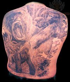 Gorilla Wildlife Tattoo On Back