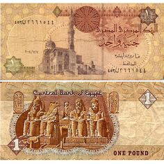 Egyptian banknotes usually feature a mosque on one side and pharaos, sphinxes and temples on the other. This one pound note shows Qaitbay Mosque and the Abu Simpel temples. Egyptian Pound, Money Notes, One Pound, Rare Coins, Vintage World Maps, Cool Stuff, Central Bank, Ancient Alphabets, Bank Deposit