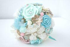 Mint fabric flower bouquet | Bukieteria