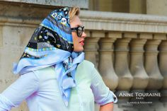 French silk scarves, Astrology and Zodiac design in blue color, by ANNE TOURAINE Paris™, tied as a head scarf a la Jackie Kennedy