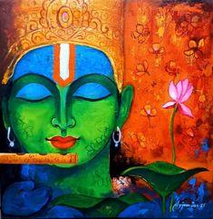 Size: 18x18 In Medium: Acrylic Color Surface: Canvas Krishna Painting, Acrylic Colors, Buddha, Canvas, Artist, Handmade, Surface, Paintings, Medium