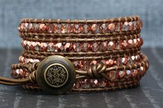 wrap bracelet - rose gold czech crystal on bronze leather - rose gold jewlery - beaded crystal on Etsy, $62.01 CAD