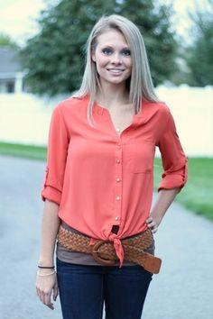 Rust Button Up Tie Blouse #nanamacs.com #nanamacs_boutique
