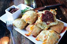 Ask For It: Fletcher's Cheddar Chive Biscuits and Bacon Jam Cheese Biscuits, Cheddar Cheese, Pittsburgh Food, Dough Cutter, Bacon Jam, Ginger And Honey, Clarified Butter, Fresh Garlic, Cheddar