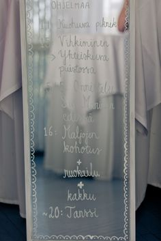 Ohjelma kirjoitettuna peilille Wedding Signs, Our Wedding, Dream Wedding, Partying Hard, Just Girly Things, How To Look Pretty, Got Married, Special Day, Wedding Planning