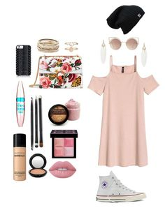 """""""Do you see me blushing?"""" by maciestockman ❤ liked on Polyvore featuring Converse, Gucci, Savannah Hayes, MANGO, Maybelline, Givenchy, Lime Crime, Kendra Scott, Bare Escentuals and MAC Cosmetics"""