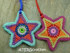 ********* Color your Christmas with this colorful star twin set *********    Set of two colorful crocheted Christmas stars with a cord of satin.