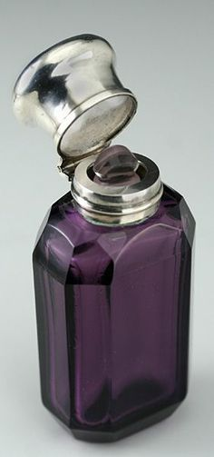 c1880 amethyst cut glass scent perfume bottle silver top - $532.00