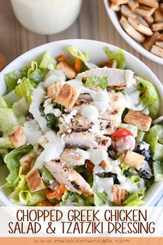 Fresh and flavorful, this chopped Greek chicken salad is packed with so many delicious ingredients – toasted pita croutons + amazing tzatziki dressing + marinated chicken. Plus, most of it can be prepped ahead of time! Greek Chicken Salad, Greek Salad, Healthy Salads, Healthy Eating, Healthy Recipes, Main Dish Salads, Macaron, Mediterranean Recipes, Greek Recipes