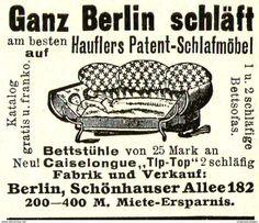 Original-Werbung/ Anzeige 1911 - GANZ BERLIN SCHLÄFT / HAUFLERS SCHLAFMÖBEL - Ca. 45 X 40 Mm - Werbung