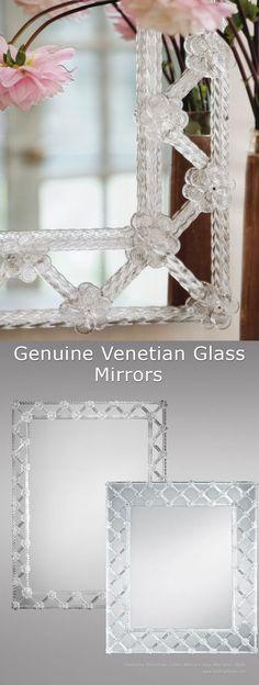 genuine Venetian glass mirrors; Venetian glass mirrors from Murano, Italy