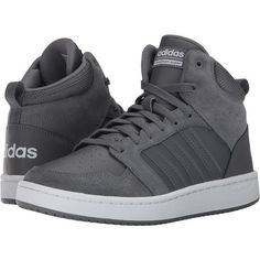 adidas Cloudfoam Super Hoops Mid (Grey Four/Grey Four/Crystal White)... ($58) ❤ liked on Polyvore featuring men's fashion, men's shoes, men's sneakers, grey, mens sneakers, mens gray shoes, mens grey shoes, mens sports shoes and mens fur lined shoes