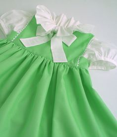 Apple Green Cotton Dress with Sash and by patriciasmithdesigns