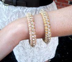 Thread and Rhinestone Bangle Bracelet Tutorial, tags: Miss Lovie, www.missloviecreations.blogspot.com, Miss Lovie blog