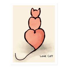 'Heart' Cat Postcard