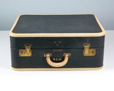 Vintage Blue and Cream Suitcase / Navy Blue Suitcase by Retroburgh