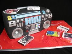 Boom Box, tape recorder cake, cassettes, 80's cake, music, fondant,