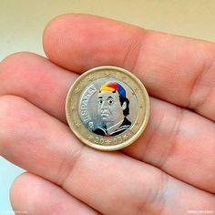 Ícones da cultura pop desenhados em moedas