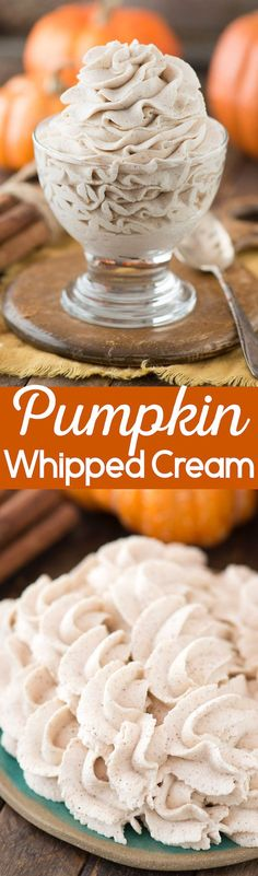 Easy 3 ingredient homemade pumpkin whipped cream! This is great on hot cocoa, pies, cakes, cupcakes.