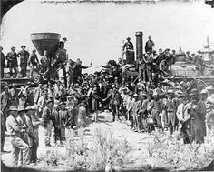 Engines from the Union Pacific Railroad (right) and the Central Pacific Railroad (left) met at Promontory Summit, Utah, on May 10, 1869, to commemorate the completion of the transcontinental railroad.