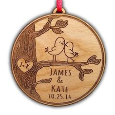 Newlywed Christmas Ornament Lovebirds Personalized Heart Tree Trunk Design Mr Mrs Wedding Date Name Engraved Couples Our First Christmas Gift for Him Her Engagement Holiday Together Wood Custom Christmas Personalized Couple's 1st -: Christmas Gifts