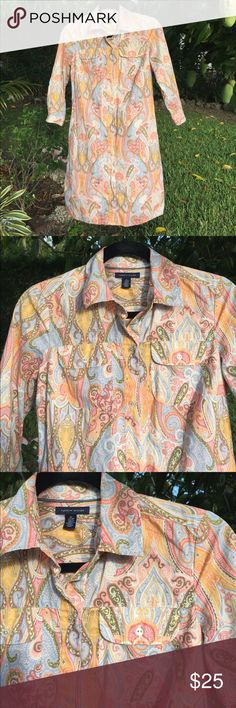 Tommy Hilfiger shirt dress paisley print size XS Pastel paisley print Tommy Hilfiger shirt dress... 3/4 sleeves w tabs to fold up.. excellent condition from smoke-free home. 100% cotton. Buttons down the front. Tommy Hilfiger Dresses